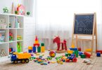Children's,Playroom,With,Plastic,Colorful,Educational,Blocks,Toys.,Games,Floor