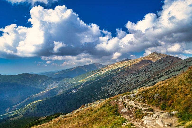 Mountainous,Landscape,With,Hills,And,Valleys,At,A,Sunny,Day