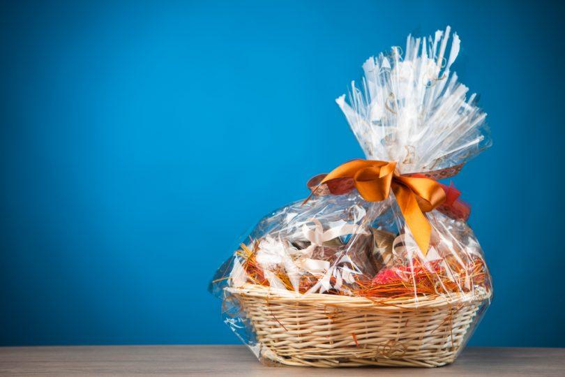 Gift,Basket,Against,Blue,Background