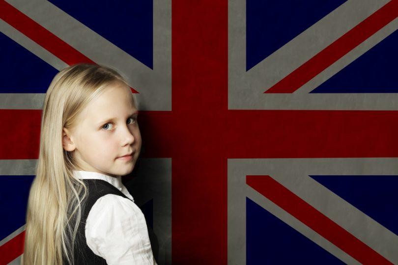 Cute,Child,Girl,Student,With,Uk,Flag,Background.,English,Language