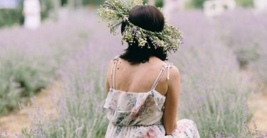Woman,In,Tender,Dress,In,Lavender,Field,With,Flowers